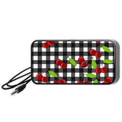 Cherries Plaid Pattern  Portable Speaker (black) by Valentinaart