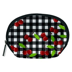 Cherries Plaid Pattern  Accessory Pouches (medium)  by Valentinaart