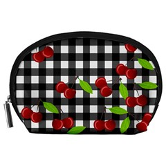 Cherries Plaid Pattern  Accessory Pouches (large)  by Valentinaart