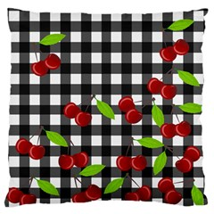 Cherries Plaid Pattern  Large Flano Cushion Case (one Side) by Valentinaart