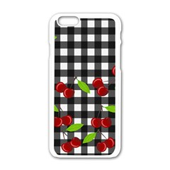 Cherries Plaid Pattern  Apple Iphone 6/6s White Enamel Case by Valentinaart