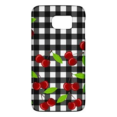 Cherries Plaid Pattern  Galaxy S6 by Valentinaart