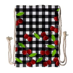 Cherries Plaid Pattern  Drawstring Bag (large) by Valentinaart
