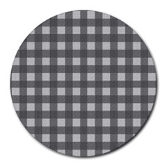 Gray Plaid Pattern Round Mousepads by Valentinaart