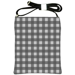 Gray Plaid Pattern Shoulder Sling Bags by Valentinaart