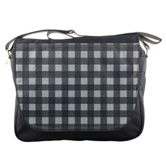 Gray Plaid Pattern Messenger Bags by Valentinaart