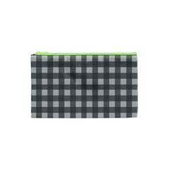 Gray Plaid Pattern Cosmetic Bag (xs) by Valentinaart