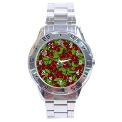 Cherry Jammy Pattern Stainless Steel Analogue Watch by Valentinaart
