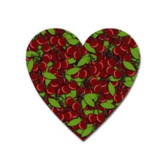Cherry Pattern Heart Magnet by Valentinaart