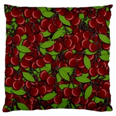 Cherry Pattern Large Cushion Case (one Side) by Valentinaart
