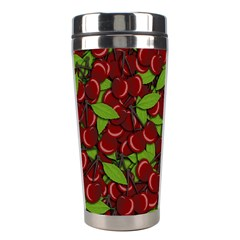 Cherry Pattern Stainless Steel Travel Tumblers by Valentinaart