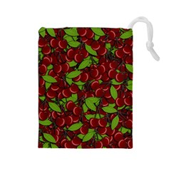Cherry Pattern Drawstring Pouches (large)  by Valentinaart