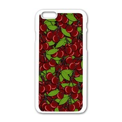 Cherry Pattern Apple Iphone 6/6s White Enamel Case by Valentinaart