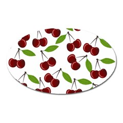 Cherry Pattern Oval Magnet by Valentinaart