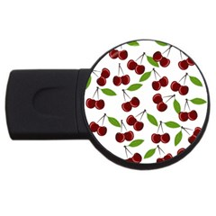 Cherry Pattern Usb Flash Drive Round (4 Gb) by Valentinaart