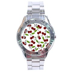 Cherry Pattern Stainless Steel Analogue Watch by Valentinaart