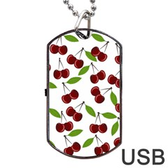 Cherry Pattern Dog Tag Usb Flash (one Side) by Valentinaart