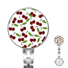 Cherry Pattern Stainless Steel Nurses Watch by Valentinaart