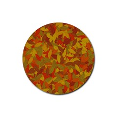 Orange Autumn Rubber Round Coaster (4 Pack)  by Valentinaart