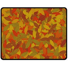 Orange Autumn Fleece Blanket (medium)  by Valentinaart