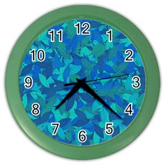 Blue Autumn Color Wall Clocks by Valentinaart