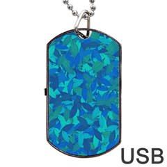Blue Autumn Dog Tag Usb Flash (one Side) by Valentinaart