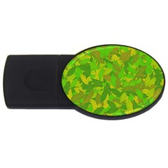 Green Autumn Usb Flash Drive Oval (4 Gb) by Valentinaart