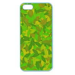 Green Autumn Apple Seamless Iphone 5 Case (color) by Valentinaart