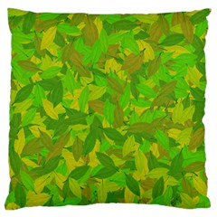 Green Autumn Large Flano Cushion Case (two Sides) by Valentinaart