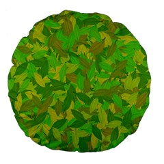Green Autumn Large 18  Premium Flano Round Cushions by Valentinaart