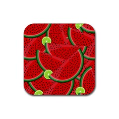 Watermelon Slices Rubber Coaster (square)  by Valentinaart