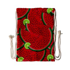 Watermelon Slices Drawstring Bag (small) by Valentinaart