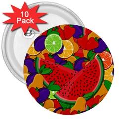 Summer Fruits 3  Buttons (10 Pack)  by Valentinaart