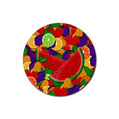 Summer Fruits Rubber Coaster (round)  by Valentinaart