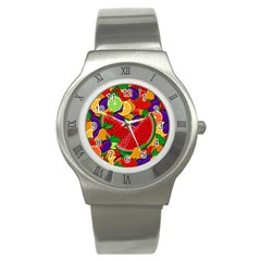 Summer Fruits Stainless Steel Watch by Valentinaart