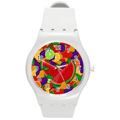 Summer Fruits Round Plastic Sport Watch (m) by Valentinaart