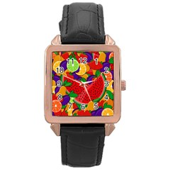 Summer Fruits Rose Gold Leather Watch  by Valentinaart