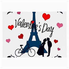 Valentine s Day   Paris Large Glasses Cloth by Valentinaart