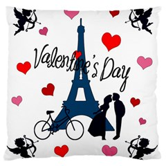 Valentine s Day   Paris Large Flano Cushion Case (one Side) by Valentinaart