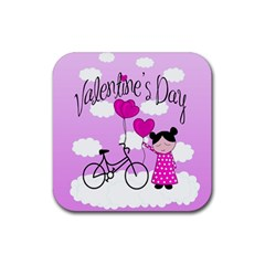 Pink Daydream  Rubber Square Coaster (4 Pack)  by Valentinaart