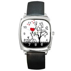 Love Hill Square Metal Watch by Valentinaart