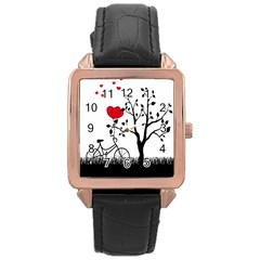 Love Hill Rose Gold Leather Watch  by Valentinaart