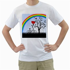 Love Hill   Rainbow Men s T Shirt (white) (two Sided) by Valentinaart