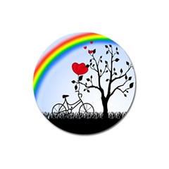 Love Hill   Rainbow Magnet 3  (round) by Valentinaart