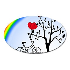 Love Hill   Rainbow Oval Magnet by Valentinaart