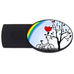 Love Hill   Rainbow Usb Flash Drive Oval (2 Gb) by Valentinaart