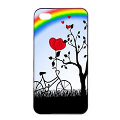Love Hill   Rainbow Apple Iphone 4/4s Seamless Case (black) by Valentinaart