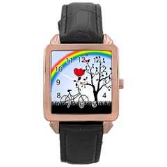 Love Hill - Rainbow Rose Gold Leather Watch  by Valentinaart