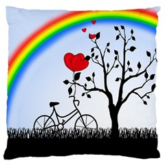 Love Hill   Rainbow Large Flano Cushion Case (one Side) by Valentinaart