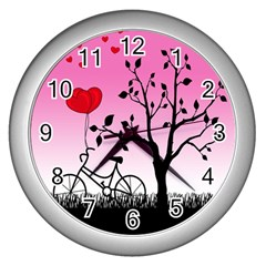 Love Sunrise Wall Clocks (silver)  by Valentinaart